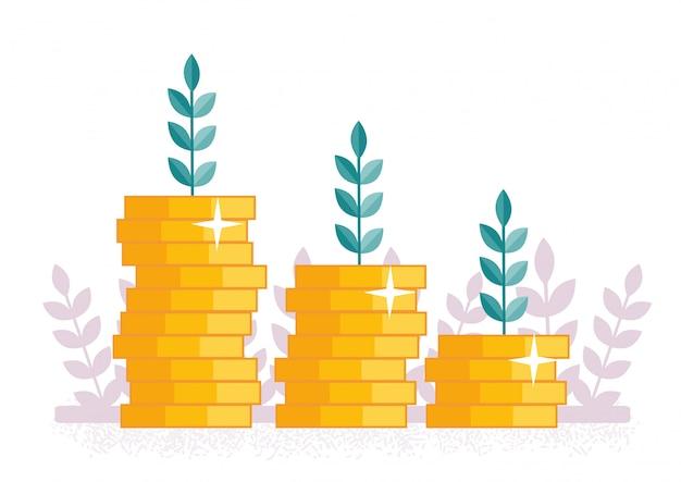 Pièces de monnaie. croissance du revenu
