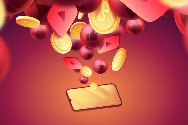 Pièces de monnaie et fond d'icônes