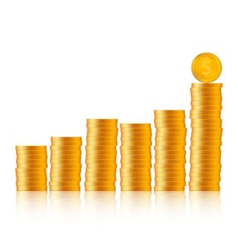 Pièces de monnaie réalistes avec graphique