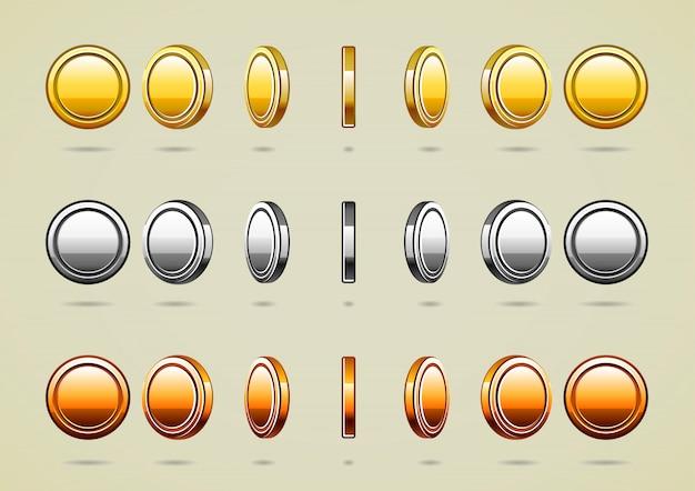 Pièces de monnaie de rotation