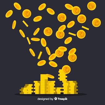 Pièces de monnaie roupie indienne tombant
