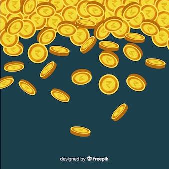 Pièces de monnaie roupies indiennes tombant