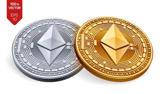 Pièces d'or et d'argent de crypto-monnaie avec le symbole de l'éthereum isolé sur fond blanc.