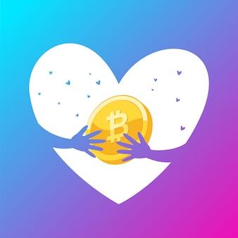 Pièces d'or bitcoin d'amour