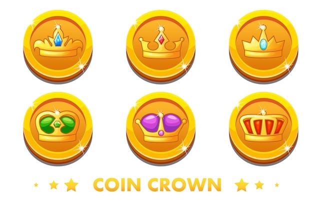 Pièces d'or de dessin animé avec la couronne de l'emblème