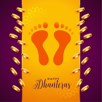 Pièces d'or et empreintes de pieds de dieu fond de dhanteras