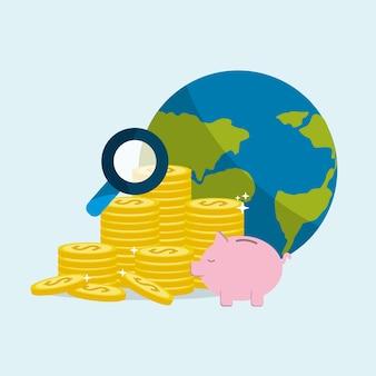 Pièces d'or globales à sauver dans le cochon