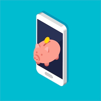 Pièces d'or et tirelire dans un style isométrique branché. pile ou tas d'argent sur un smartphone. dépôt en ligne sur votre téléphone.