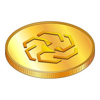 Pièces d'or unus sed leo en vue de dessus isométrique isolé sur blanc. illustration vectorielle.