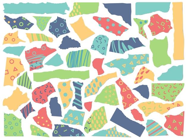 Pièces de papiers artistiques. papier de texture minimale scrapbooking mode, formes en carton découpé et ensemble de textures scrapbooking abstraite
