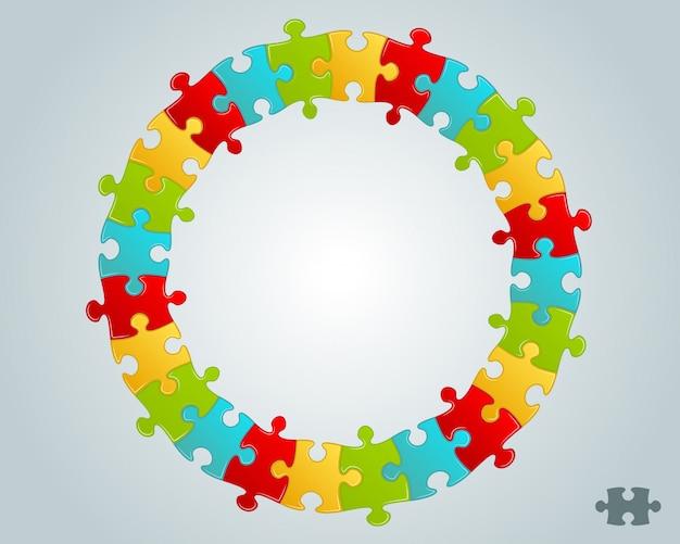 Pièces de puzzle colorées autour du cadre