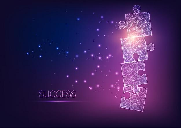 Pièces de puzzle futuriste rougeoyant rougeoyant comme symbole de la stratégie, solution d'entreprise.
