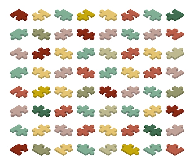Pièces de puzzle isométrique