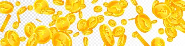 Pièces de roupie indienne tombant. des pièces de monnaie inr éparses à couper le souffle. l'argent de l'inde. concept de jackpot, de richesse ou de réussite enchanteur. illustration vectorielle.