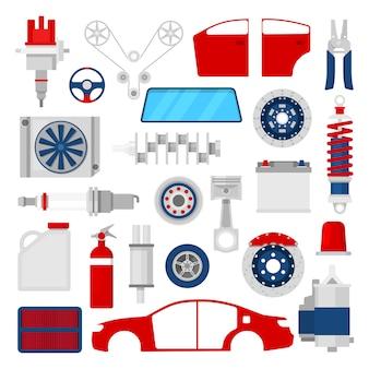 Pièces de voitures définies icônes de réparation de service automatique.