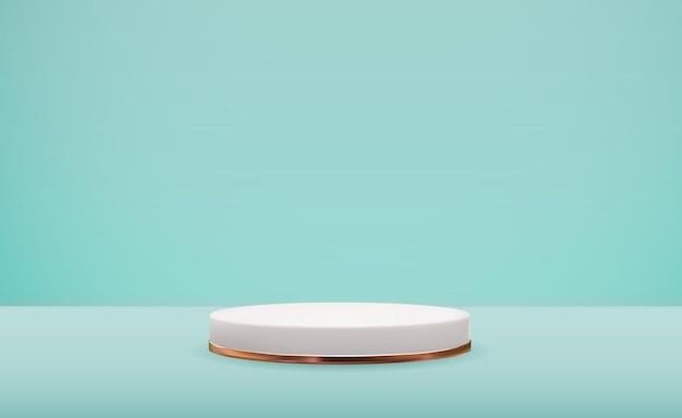 Piédestal blanc 3d réaliste sur fond naturel pastel bleu. présentoir de podium vide à la mode