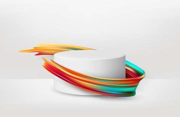 Piédestal blanc réaliste 3d avec peinture au pinceau de couleur.