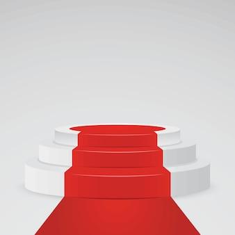 Piédestal blanc réaliste - piédestal 3d avec tapis rouge. plate-forme de podium pour le prix et le gagnant, illustration vectorielle