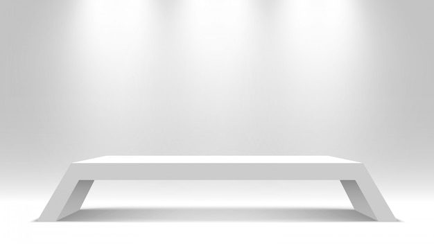 Piédestal blanc. supporter. bureau. podium. illustration.
