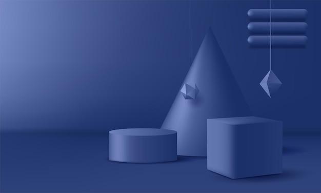 Piédestal bleu sur un fond abstrait