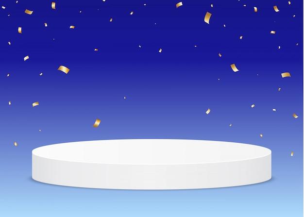 Piédestal de la cérémonie de remise des prix sur fond bleu, avec des confettis tombant