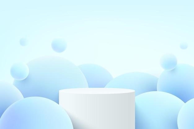 Piédestal de cylindre blanc 3d réaliste abstrait ou podium de stand avec boule de sphère d'hologramme bleu volant