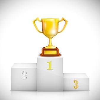 Piédestal gagnant avec la coupe de trophée d'or.