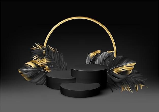 Piédestal noir réaliste 3d avec des feuilles de palmier dorées.