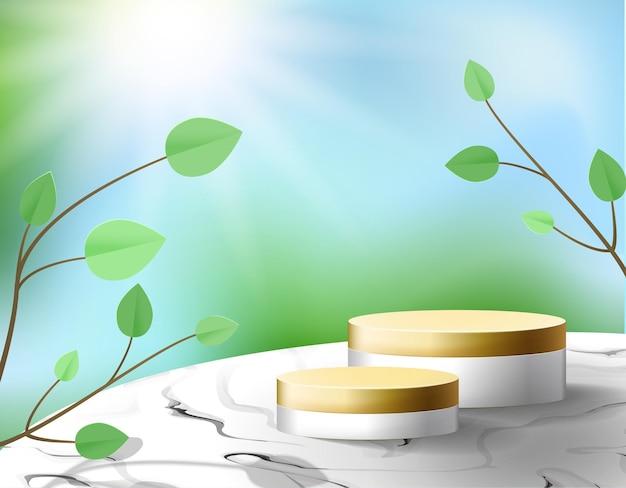 Piédestal d'or sur une table en marbre. podium de tendance 3d sur la belle nature floue avec des plantes en papier