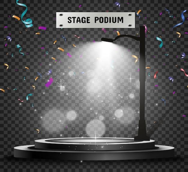 Piédestal ou plate-forme de podium rond éclairé par un lampadaire