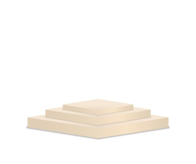Piédestal et plate-forme support de scène cylindre rond et carré vides et escaliers podium d