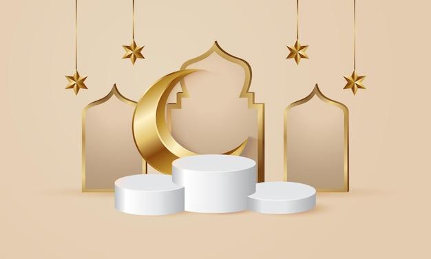 Piédestal De Podium Ramadan Kareem Pour L'affichage Des Produits Vecteur Premium