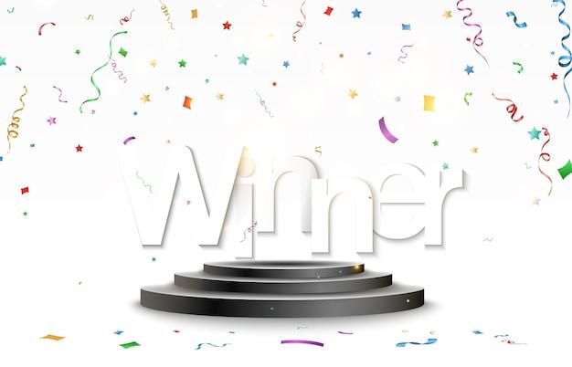 Piédestal pour récompenser les gagnants. podium blanc ou plate-forme avec spots. illustration vectorielle.