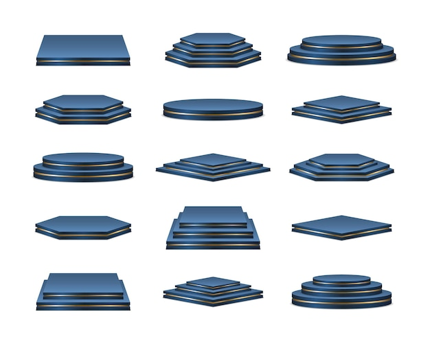 Piédestal réaliste de podiums bleus pour l'étape des gagnants