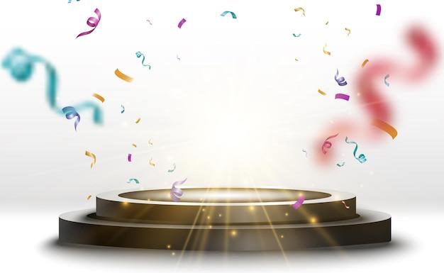 Piédestal rond. podium gagnant avec des confettis.