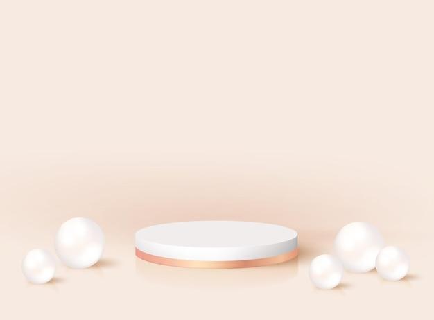 Piédestal rond réaliste 3d moderne minimal avec des perles. maquette de stand de prix de nomination, conception de rendu de scène. plate-forme de podium vectoriel pour produit cosmétique, affichage de studio de mode. scène vide géométrique