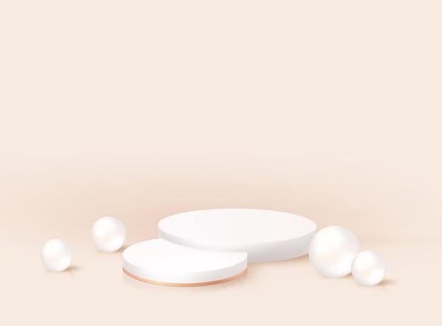 Piédestal rond réaliste 3d moderne minimal avec des perles. maquette de stand de prix de nomination, conception de rendu de scène. scène vide géométrique. plate-forme de podium de vecteur pour le produit cosmétique, affichage de studio de mode