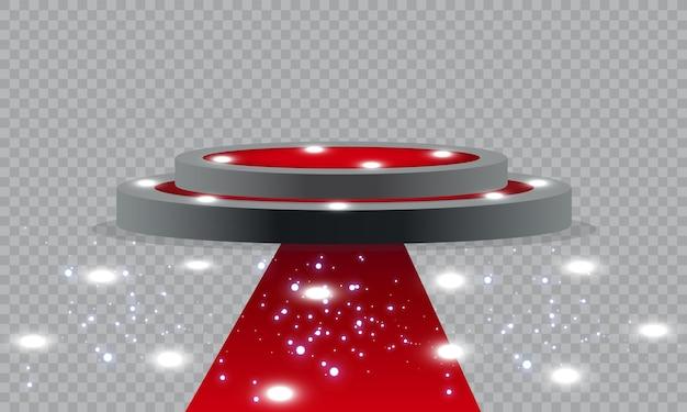 Piédestal vide pour la cérémonie de remise des prix. plateforme éclairée par des spots. illustration.