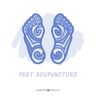 Pieds acupuncture vecteur