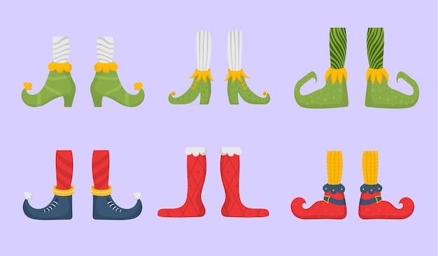 Pieds d'elfe chaussures plates pour pieds d'elfes aides du père noël jambe naine dans un pantalon chaussettes et bottes drôles