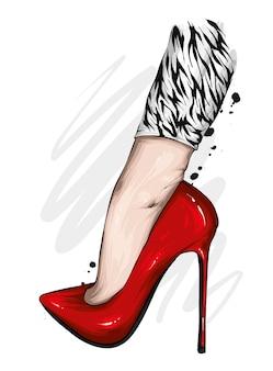 Pieds féminins en chaussures à talons hauts