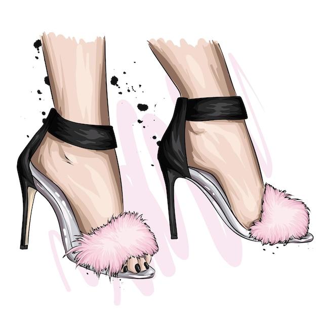 Pieds de femme dans des chaussures élégantes