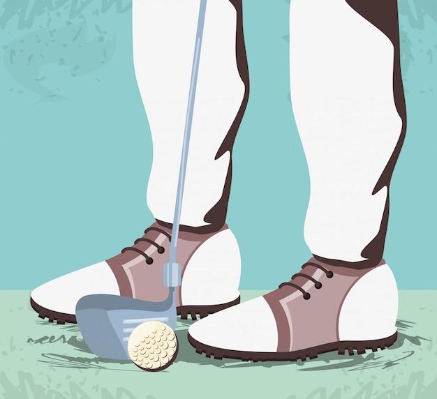 Pieds de golfeur sur un terrain de golf