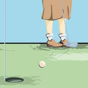 Pieds de golfeurs sur un parcours de golf