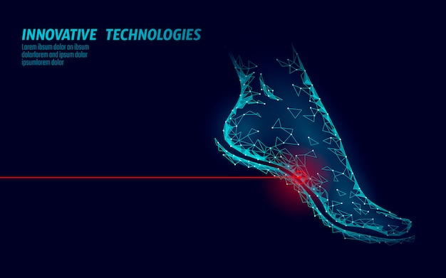 Pieds humains rendu 3d low poly. zone douloureuse médicale bleue polygonale.