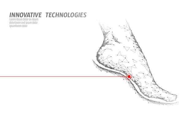 Pieds humains rendu 3d low poly. zone douloureuse de soins médicaux blancs polygonaux.