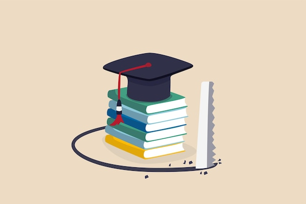 Piège du prêt étudiant, coût et dépenses des connaissances ou grosse dette à rembourser pour l'éducation, concept d'ego de haut degré, panneau de mortier de chapeau de graduation sur la pile de livres vu tomber.