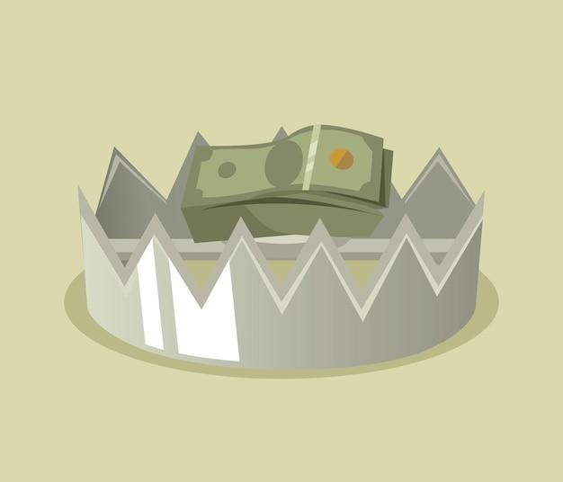 Piège avec illustration de dessin animé d'argent
