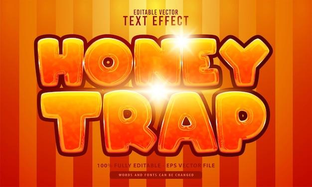 Piège à miel, effet de texte modifiable de style dessin animé, adapté au titre de film, à l'affiche et au produit imprimé