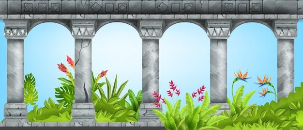 Pierre ancienne arche vecteur marbre pilier fond vert jardin tropical paradis fleur bush